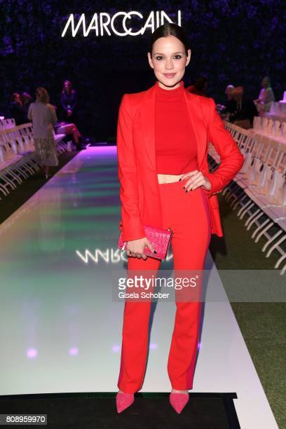 Emilia Schuele wearing a red suit by Marc Cain during the Marc Cain Fashion Show Spring/Summer 2018 at ewerk on July 4 2017 in Berlin Germany