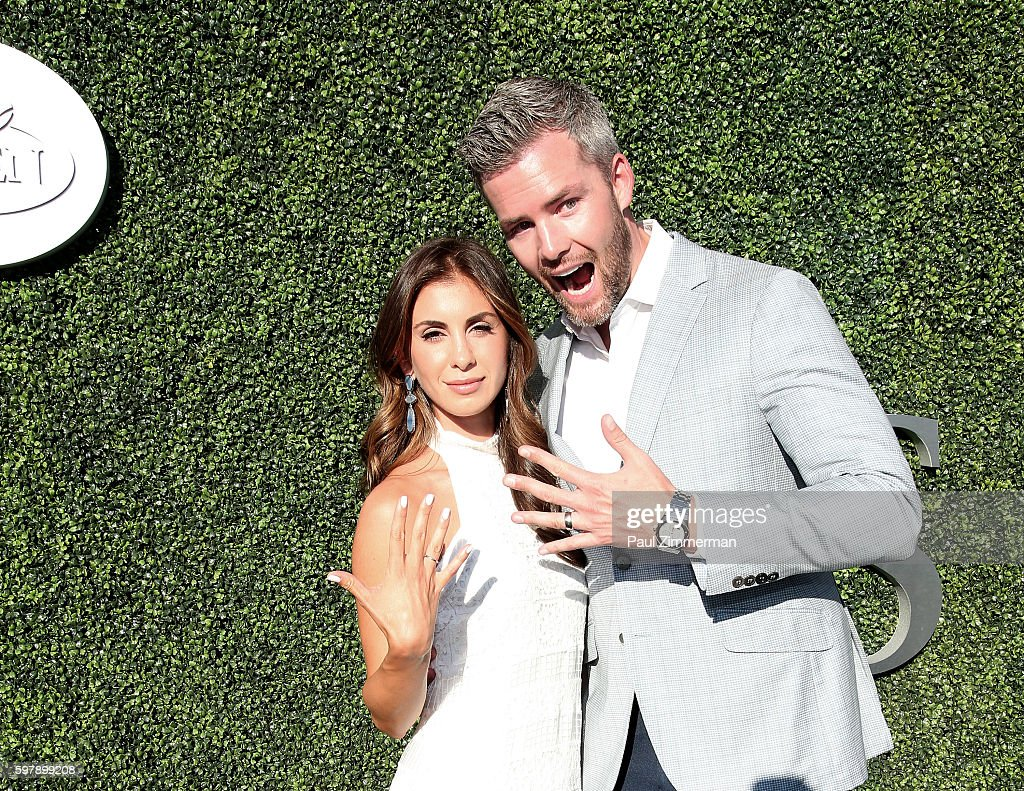 Emilia Serhant and Ryan Serhant attend the 2016 US Open opening night at USTA Billie Jean King National Tennis Center on August 29 2016 in New York...