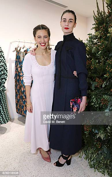 Emilia Wickstead and Erin O'Connor attend the Emilia Wickstead Christmas Cocktail party at the Emilia Wickstead London Flagship store on November 28...