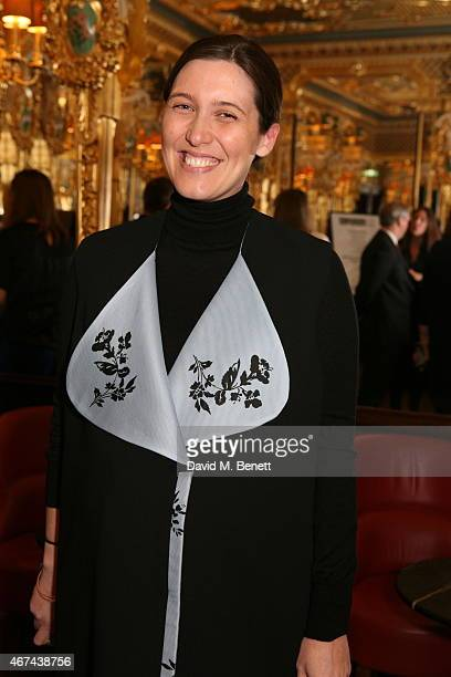 Emilia Wickstead attends the BFC/Vogue Designer Fashion Fund winner's announcement at Cafe Royal on March 24 2015 in London England