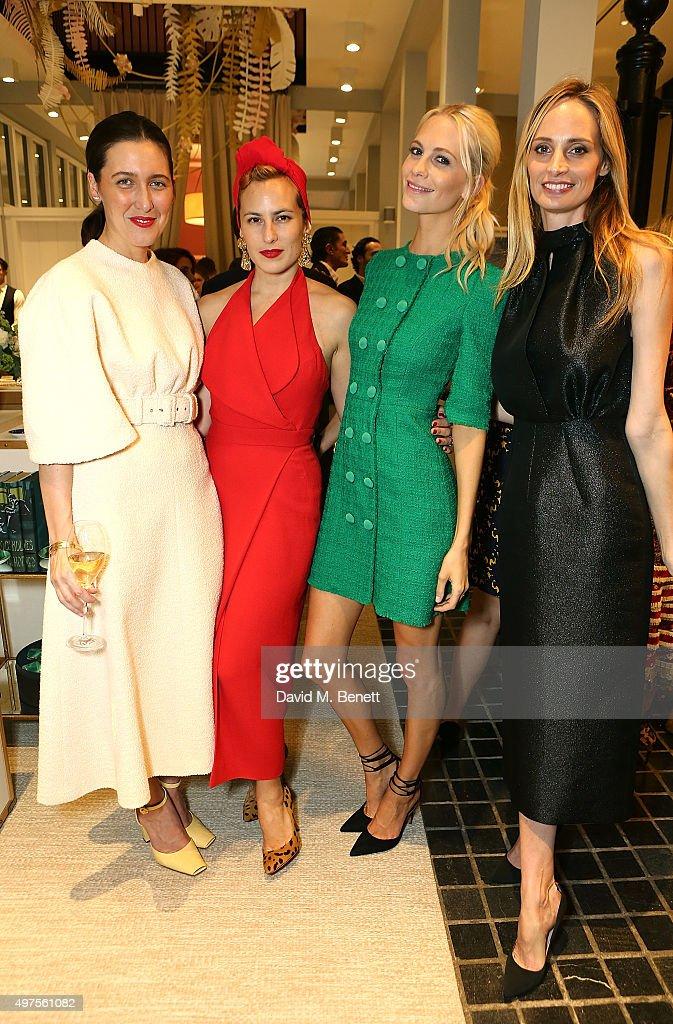Emilia Wickstead, Charlotte Olympia, Poppy Delevingne and Lauren Santo Domingo attend the Moda Operandi Holiday dinner hosted by Lauren Santo Domingo on November 17, 2015 in London, England.