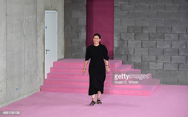 Emilia Wickstead makes an appearence on the runway after her show during London Fashion Week Spring/Summer 2016/17 on September 19 2015 in London...