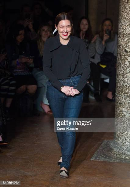 Emilia Wickstead walks the catwalk at the Emilia Wickstead show during the London Fashion Week February 2017 collections on February 18 2017 in...