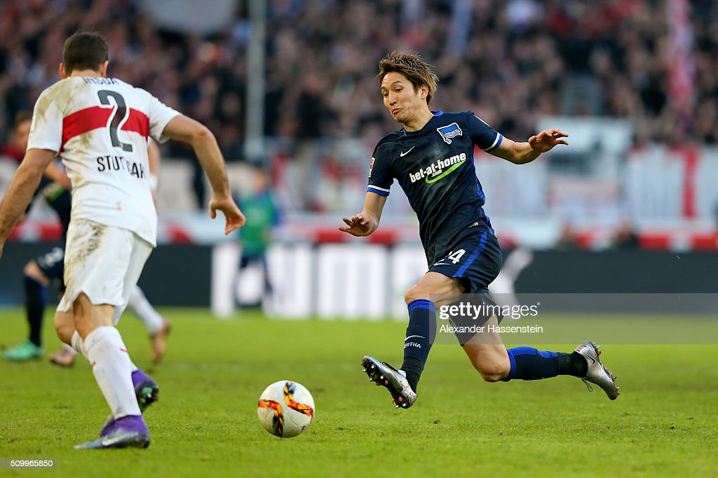Emiliano Adrian Insúa Zapata of Stuttgart battles for the ball with <a gi-track='captionPersonalityLinkClicked' href=/galleries/search?phrase=Genki+Haraguchi&family=editorial&specificpeople=5473188 ng-click='$event.stopPropagation()'>Genki Haraguchi</a> (R) of Hertha during the Bundesliga match between VfB Stuttgart and Hertha BSC Berlin at Mercedes-Benz Arena on February 13, 2016 in Stuttgart, Germany.