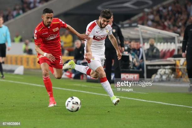 Emiliano Adrian Insua Zapata of Stuttgart Kenny Prince Redondo of Union Berlin battle for the ball during the Second Bundesliga match between VfB...