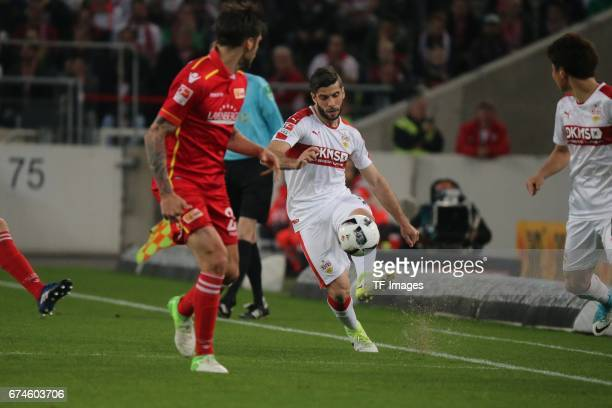 Emiliano Adrian Insua Zapata of Stuttgart Roberto Puncec of Union Berlin battle for the ball during the Second Bundesliga match between VfB Stuttgart...