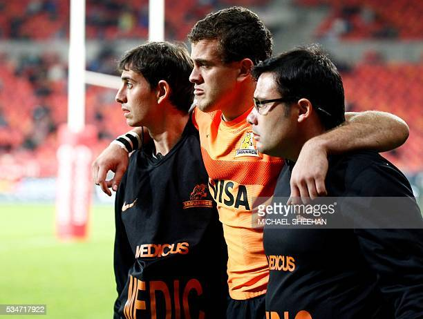 Emiliano Boffelli of the Jaguares is helped off the field during the Super Rugby clash between Kings and Jaguares at the Nelson Mandela Bay rugby...