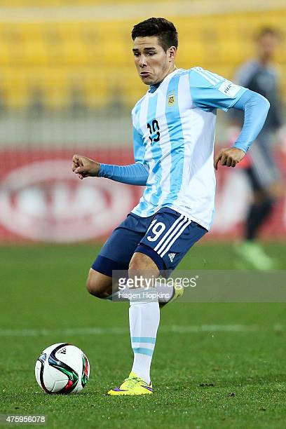 Emiliano Buendia of Argentina in action during the FIFA U20 World Cup New Zealand 2015 Group B match between Austria and Argentina at Wellington...