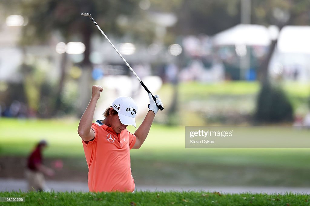 Emiliano Grillo of Argentina celebrates a shot from a bunker on the tenth hole during final round of the Frys.com Open on October 18, 2015 at the North Course of the Silverado Resort and Spa in Napa, California.