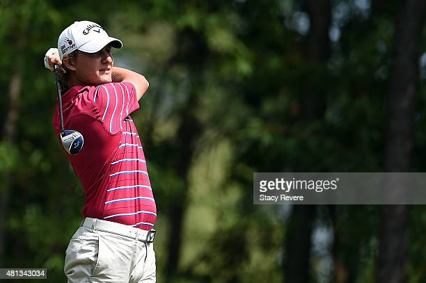 Emiliano Grillo of Argentina hits his tee shot on the second hole during the final round of the Barbasol Championship at the Robert Trent Jones Golf...