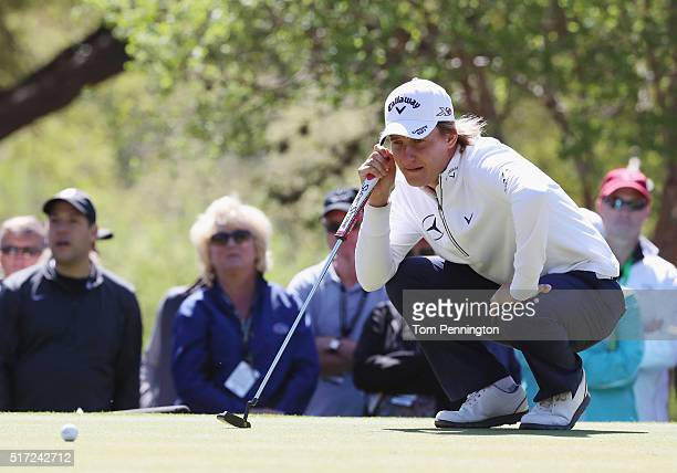 Emiliano Grillo of Argentina lines up a putt on the sixth green during the second round of the World Golf ChampionshipsDell Match Play at the Austin...