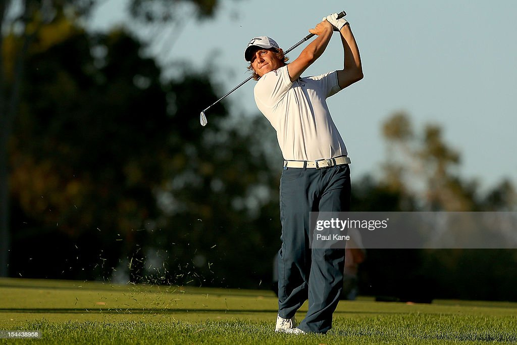 Emiliano Grillo of Argentina plays his approach shot on the 18th hole during round three of the Perth International at Lake Karrinyup Country Club on October 20, 2012 in Perth, Australia.