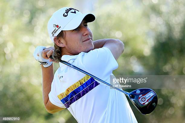 Emiliano Grillo of Argentina plays his shot from the 16th tee during the second round of the Shriners Hospitals For Children Open on October 23 2015...