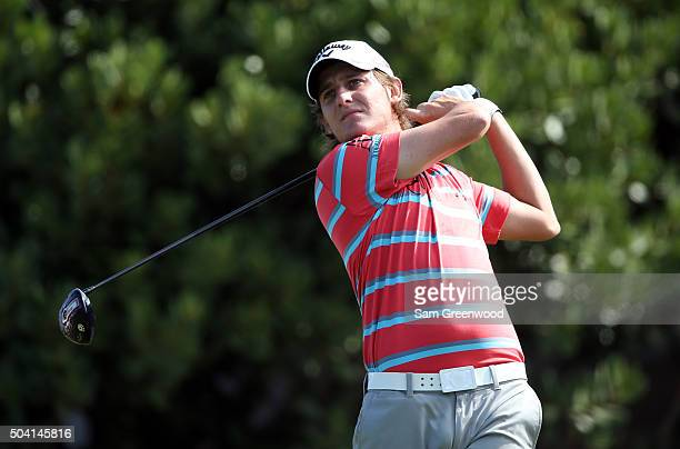 Emiliano Grillo of Argentina plays his shot from the first tee during round two of the Hyundai Tournament of Champions at the Plantation Course at...