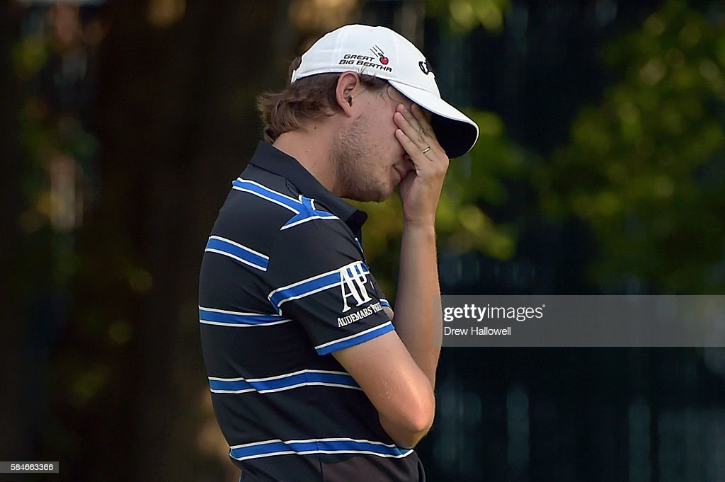 Emiliano Grillo of Argentina reacts after making bogey on the eighth hole during the second round of the 2016 PGA Championship at Baltusrol Golf Club...