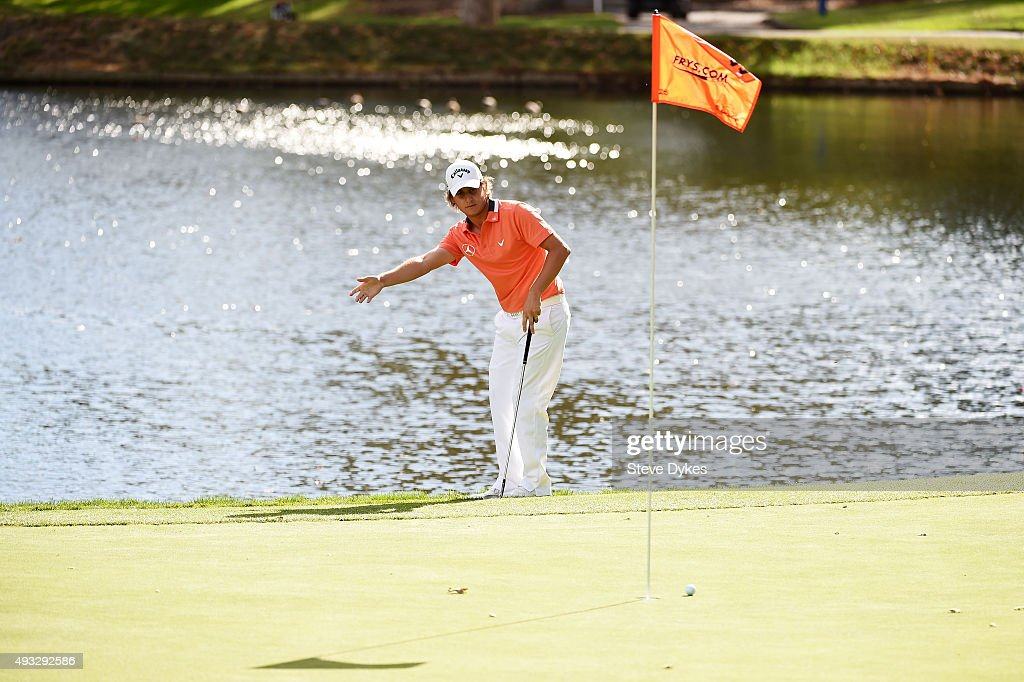 Emiliano Grillo of Argentina reacts on the 11th green during final round of the Frys.com Open on October 18, 2015 at the North Course of the Silverado Resort and Spa in Napa, California.