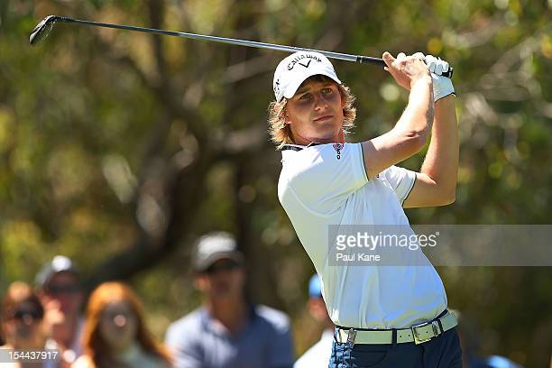 Emiliano Grillo of Argentina tees off on the 2nd hole during round three of the Perth International at Lake Karrinyup Country Club on October 20 2012...