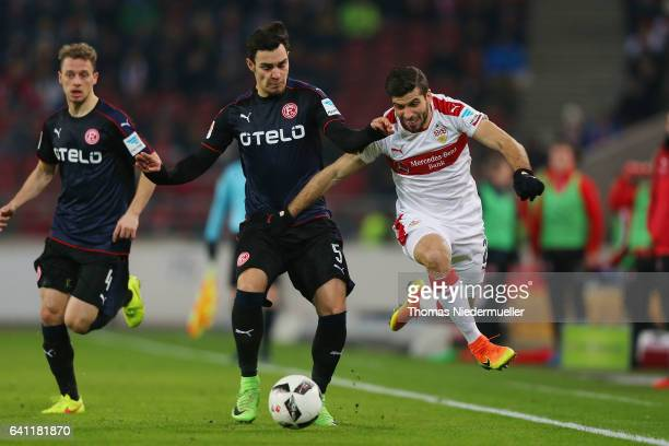 Emiliano Insua fights for the ball with Kaan Ayhan of Duesseldorf during the Second Bundesliga match between VfB Stuttgart and Fortuna Duesseldorf at...