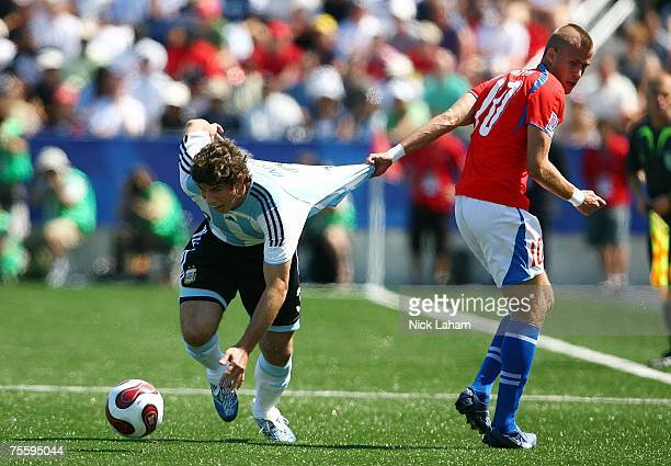 Emiliano Insua of Argentina has his jersey pulled by Jakub Mares of the Czech Republic duringt the Fifa U20 World Cup Canada 2007 Final at the...
