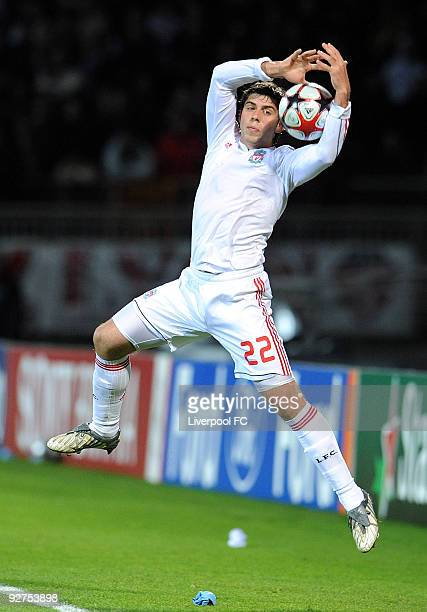 Emiliano Insua of Liverpool during the UEFA Champions League Group E match between Liverpool and Lyon at the Stade de Gerland on November 4 2009 in...