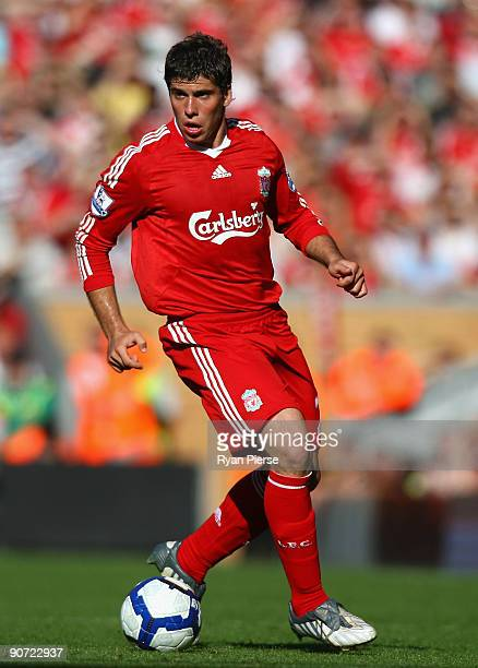 Emiliano Insua of Liverpool in action during the Barclays Premier League match between Liverpool and Burnley at Anfield on September 12 2009 in...
