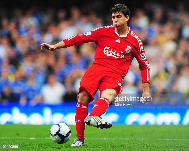 Emiliano Insua of Liverpool in action during the Barclays Premier League match between Chelsea and Liverpool at Stamford Bridge on October 4 2009 in...