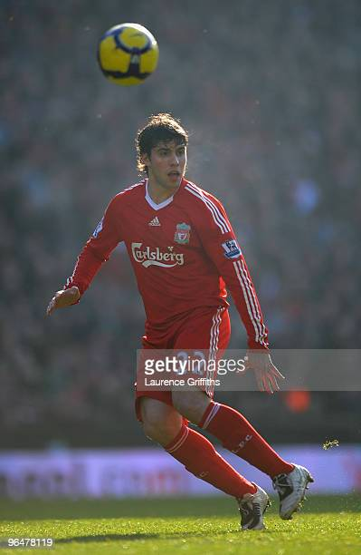 Emiliano Insua of Liverpool in action during the Barclays Premier League match between Liverpool and Everton at Anfield on February 6 2010 in...