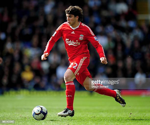 Emiliano Insua of Liverpool in action during the Barclays Premier League match between Birmingham City and Liverpool at St Andrews Stadium on April 4...