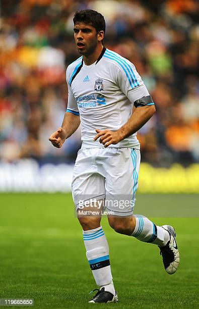 Emiliano Insua of Liverpool in action during the Pre Season Friendly match between Hull City and Liverpool at KC Stadium on July 23 2011 in Hull...