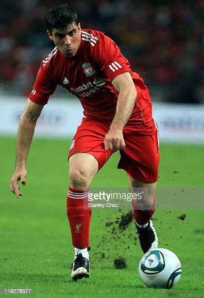 Emiliano Insua of Liverpool in action during the preseason friendly match between Malaysia and Liverpool at the Bukit Jalil National Stadium on July...
