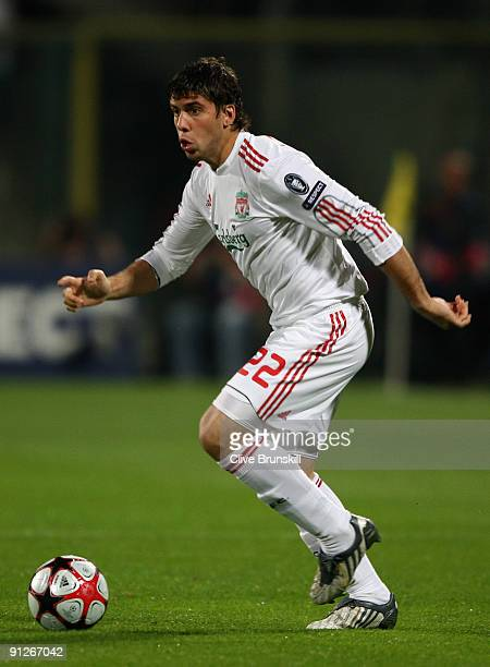 Emiliano Insua of Liverpool in action during the UEFA Champions League Group E match between Fiorentina and Liverpool at the Stadio Artemio Franchi...