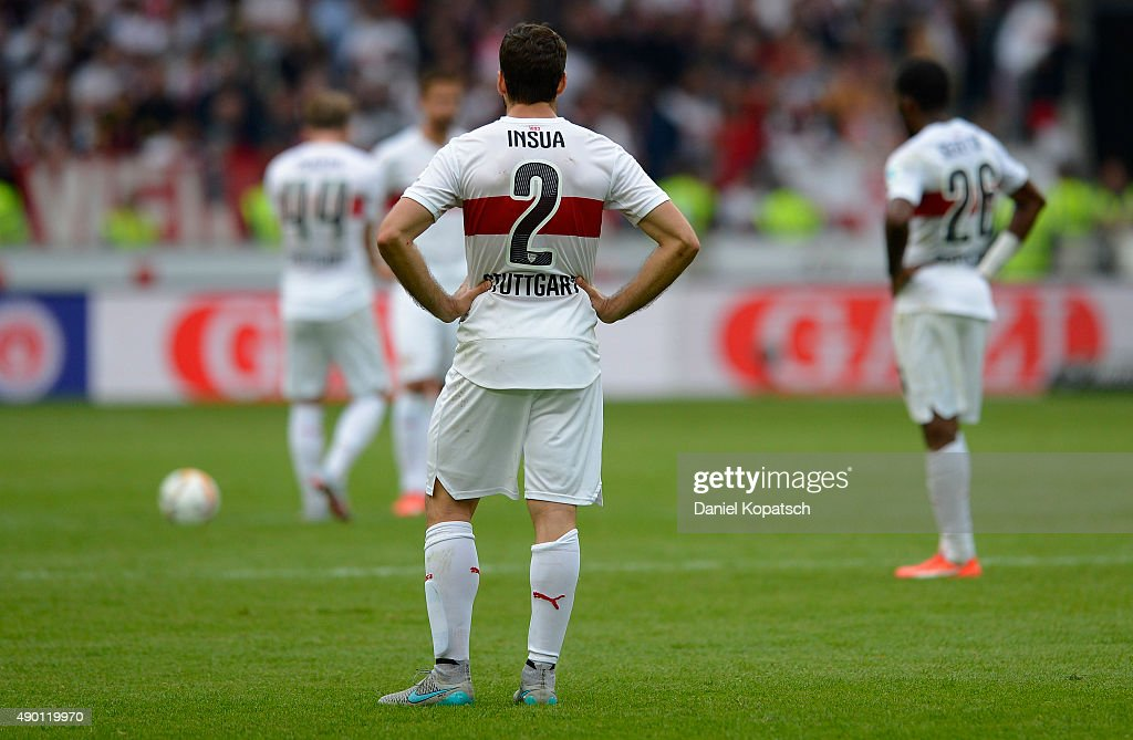 <a gi-track='captionPersonalityLinkClicked' href=/galleries/search?phrase=Emiliano+Insua&family=editorial&specificpeople=4125596 ng-click='$event.stopPropagation()'>Emiliano Insua</a> of Stuttgart reacts during the Bundesliga match between VfB Stuttgart and Borussia Moenchengladbach at Mercedes-Benz Arena on September 26, 2015 in Stuttgart, Germany.
