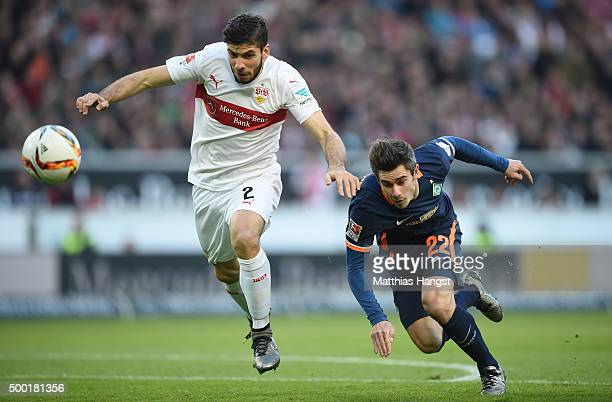 Emiliano Insua Zapata of Stuttgart and Fin Bartels of Bremen compete for the ball during the Bundesliga match between VfB Stuttgart and Werder Bremen...