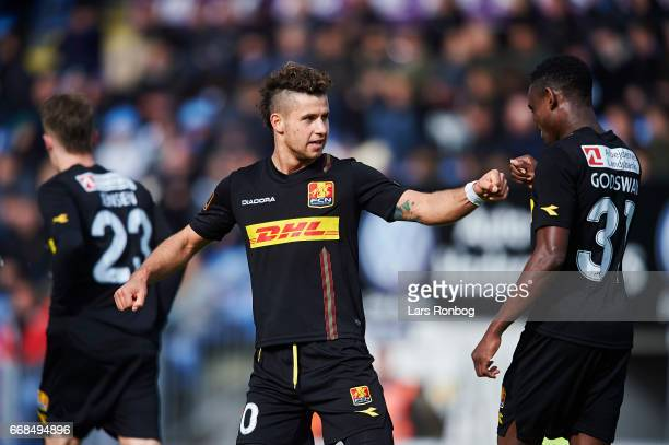 Emiliano Marcondes and Godsway Donyoh of FC Nordsjalland celebrate after scoring their third goal during the Danish Alka Superliga match between...