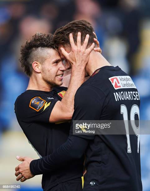 Emiliano Marcondes and Marcus Ingvartsen of FC Nordsjalland celebrate after scoring their third goal during the Danish Alka Superliga match between...