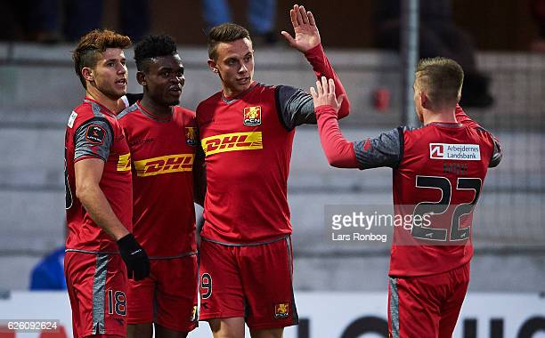Emiliano Marcondes Godsway Donyoh Marcus Ingvartsen and Brent McGrath of Esbjerg fB celebrate after scoring their first goal during the Danish Alka...
