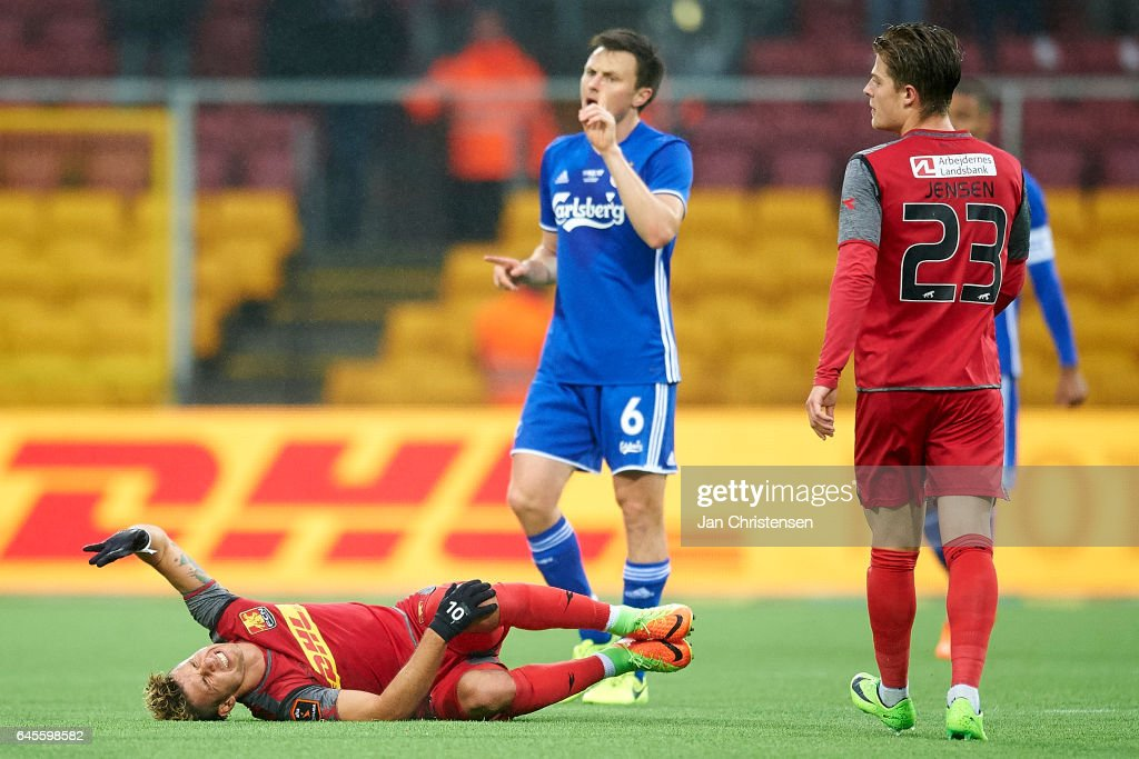 Emiliano Marcondes Hansen of FC Nordsjalland get an injury during the Danish Alka Superliga match between FC Nordsjalland and FC Copenhagen at Right to Dream Park on February 26, 2017 in Farum, Denmark.