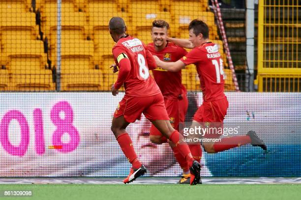 Emiliano Marcondes of FC Nordsjalland and teammates celebrate his 10 goal during the Danish Alka Superliga match between FC Nordsjalland and Randers...