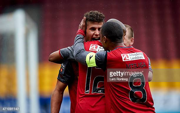 Emiliano Marcondes of FC Nordsjalland celebrates after scoring their first goal during the Danish Alka Superliga match between FC Nordsjalland and...