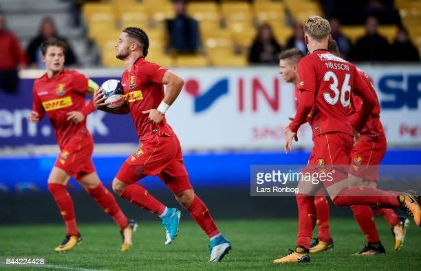 Emiliano Marcondes of FC Nordsjalland celebrates after scoring their first goal during the Danish Alka Superliga match between AC Horsens and FC...