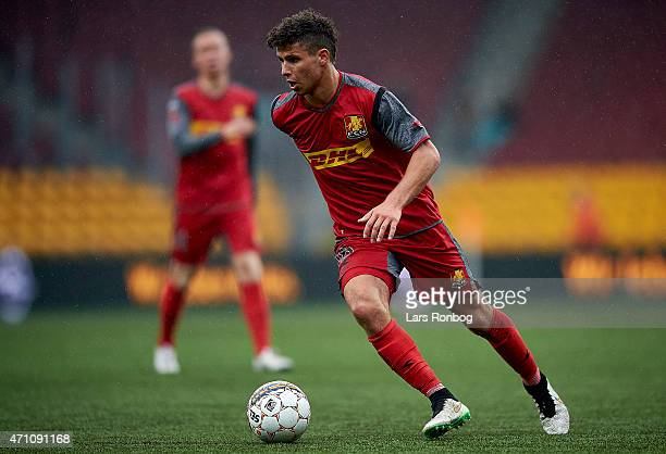 Emiliano Marcondes of FC Nordsjalland controls the ball during the Danish Alka Superliga match between FC Nordsjalland and Silkeborg IF at Farum Park...
