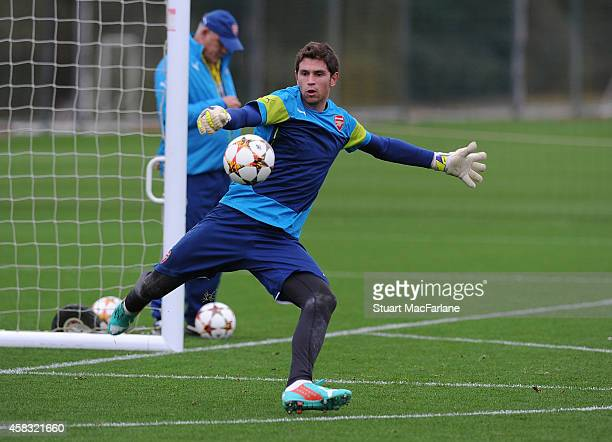 Emiliano Martinez of Arsenal during a training session at London Colney on November 3 2014 in St Albans England Photo by Stuart MacFarlane/Arsenal FC...