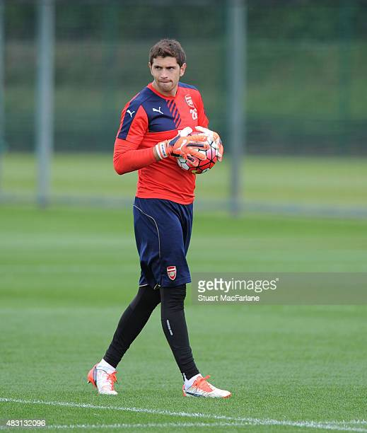 Emiliano Martinez of Arsenal during a training session at London Colney on August 6 2015 in St Albans England