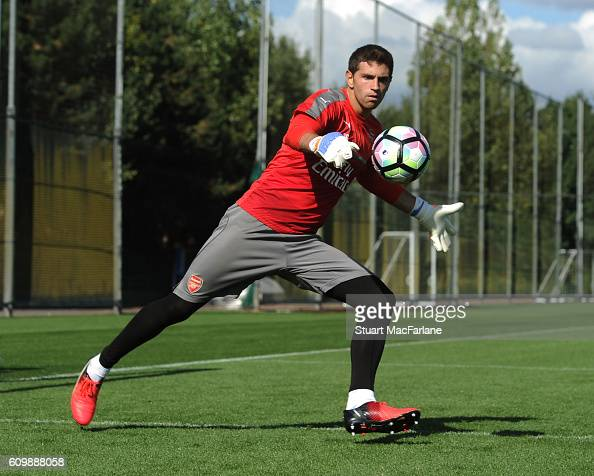Emiliano Martinez of Arsenal during a training session at London Colney on September 23 2016 in St Albans England