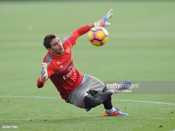 Emiliano Martinez of Arsenal during a training session at London Colney on November 3 2016 in St Albans England
