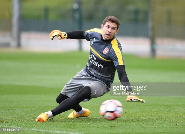 Emiliano Martinez of Arsenal during a training session at London Colney on April 22 2017 in St Albans England