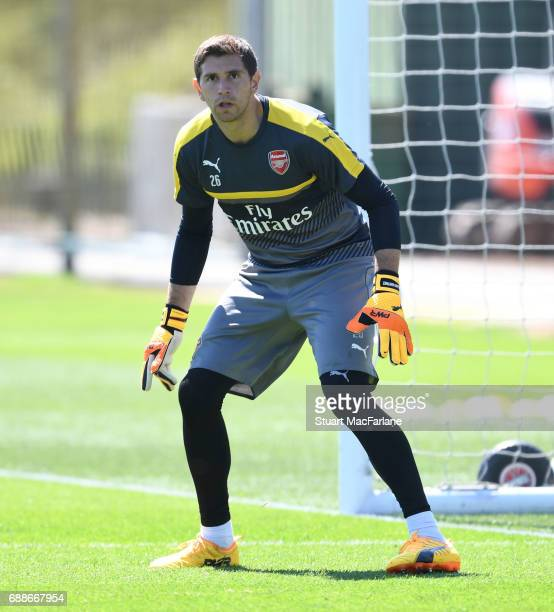 Emiliano Martinez of Arsenal during a training session at London Colney on May 26 2017 in St Albans England