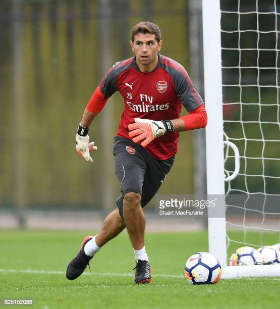 Emiliano Martinez of Arsenal during a training session at London Colney on August 1 2017 in St Albans England