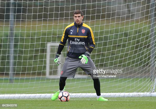 Emiliano Martinez of Arsenal during a training session on February 19 2017 in St Albans England