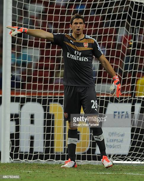 Emiliano Martinez of Arsenal during the match between Arsenal and Singapore XI at the Singapore National Stadium on July 15 2015 in Kallang